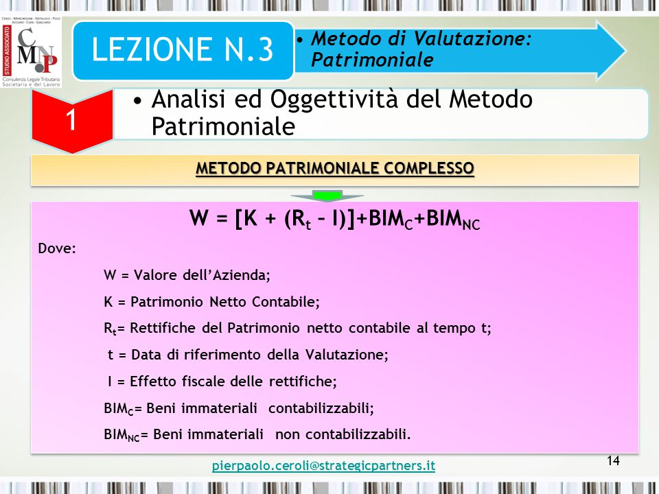 METODO PATRIMONIALE COMPLESSO W = [K + (Rt – I)]+BIMC+BIMNC